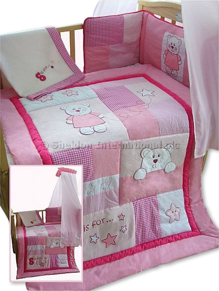 5 teiliges baby bettw sche set rosa b r gro handel. Black Bedroom Furniture Sets. Home Design Ideas